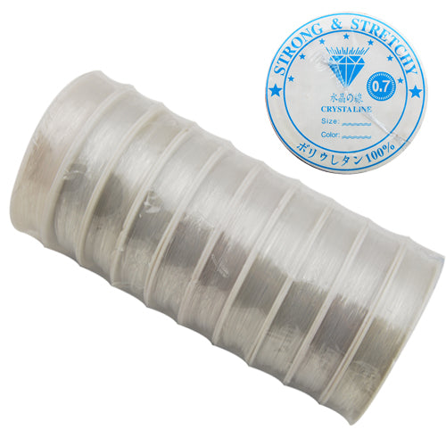 10M/Roll,0.7MMCrystal Thread,Clear,Elastic Rubber Beading Cord Thread String,Sold 10 Rolls Per Lot