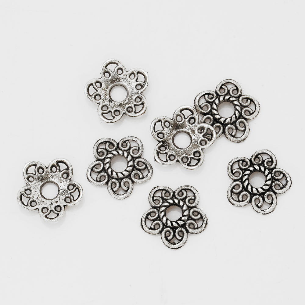 12mm Antique Silver Vintage Jewelry Caps,Hollow Flower Charm Bead Caps,Jewelry Findings,sold 50pcs/lot