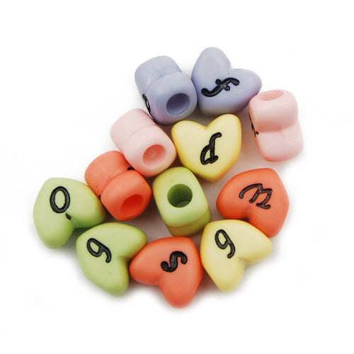 500 Grams 12MM Heart Alphabet  Acrylic Beads,Mixed Color,About 975PCS Per Pkg