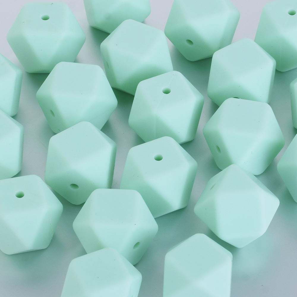 17*17*17MM Hexagon Silicone Teething Beads Sensory Beads BPA free silicone beading Food grade silicone green 10pcs
