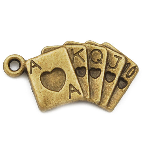 24*13mm Vintage antique bronze Zinc alloy charms,poker,sold 200 pcs per pkg