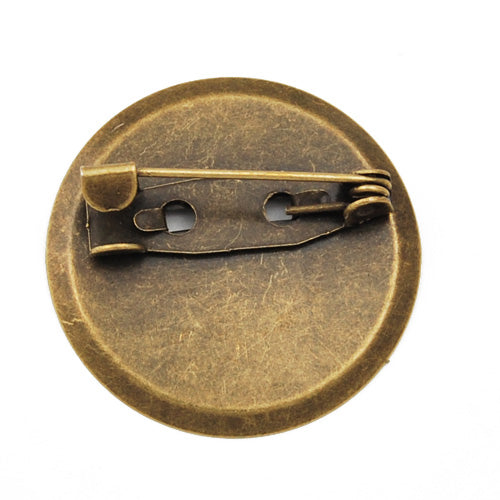 24mm Iron Brooch Back Base Safety Pin with Round Flat Pad,Sold 100 PCS per pkg
