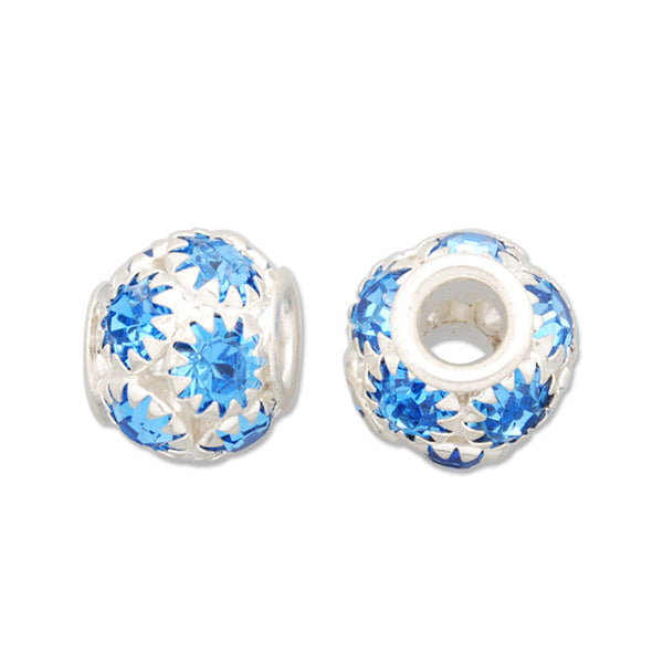 12x13 MM Acid Blue Pave Crystal Beads,Brass Base,Hole Size 4.5MM,Sold 10 PCS Per Package
