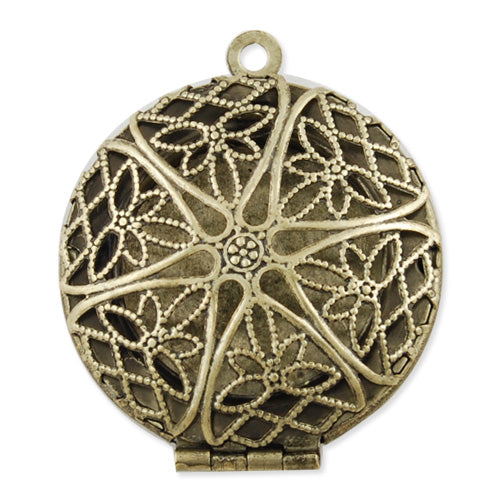 28 mm Antique Brass Filigree Round Lockets Pendant ,Sold 20 pcs per pkg