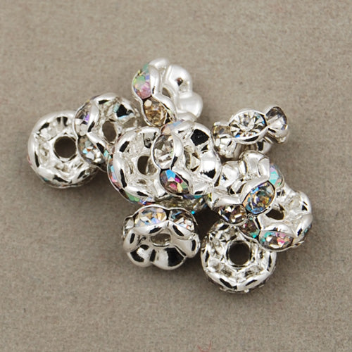 6MM Diameter Rhinestone Spacer Beads,Clear AB Color,Brass,Silver Plated,Thick About 3MM,Hole:About 1MM,Sold 100 PCS Per Package