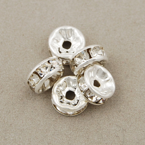 8MM Diameter Rhinestone Spacer Beads,Crystal Diamond,Brass,Silver Plated,Thick About 3.8MM,Hole:About 1.5MM,Sold 200 PCS Per Package