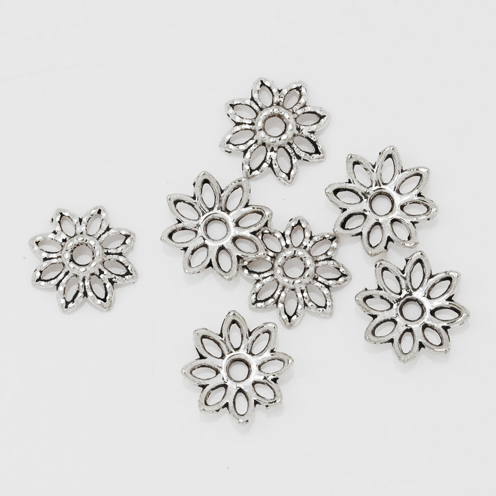 10mm Antique Silver Lotus Bead Caps,Flower Bead Caps,Jewelry Findings,sold 100pcs/lot
