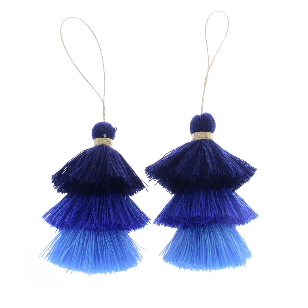 Cotton Tiered Tassel Earrings Pendants Tassels for jewelry making Tassel Stack Necklace Earrings,2pcs/lot