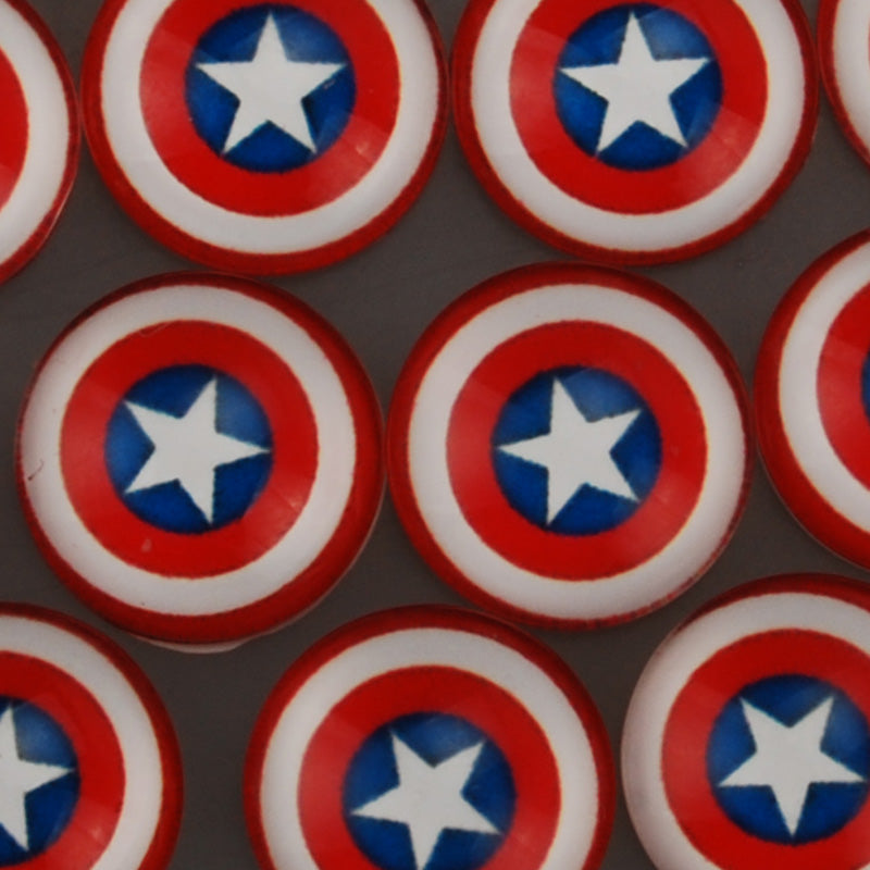 18MM Round Glass Cabochons,Captain America Pattern Glass Cabochons,Marvel Comics Superhero,Flat Back,thickness 5mm,Sold 50 pieces/lot