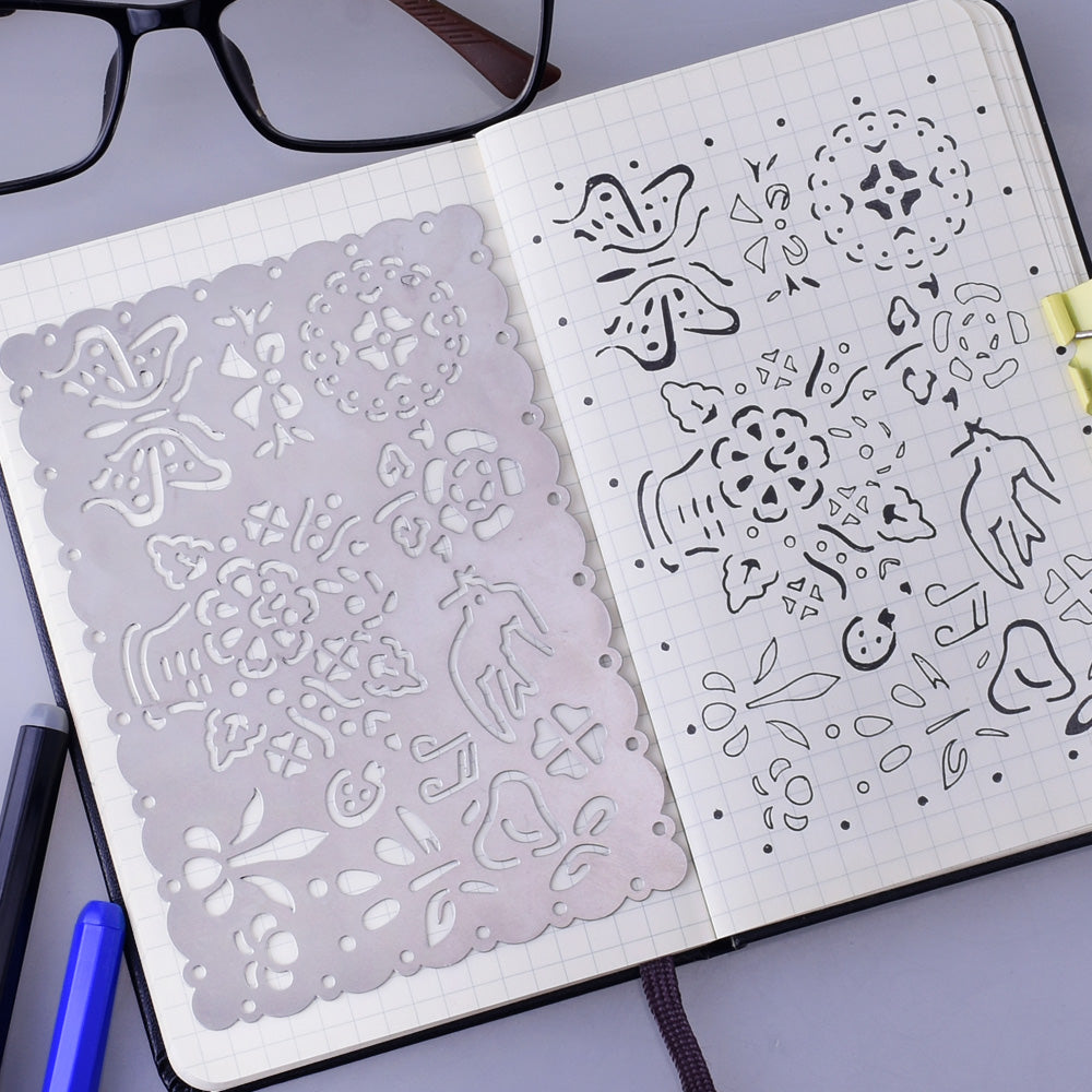 "About  3 1/3*5 1/8"" Stainless Steel bullet journal stencil pochoir bullet journal Planner Stencil Icons Stencil 1pcs"