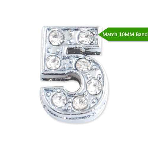"10MM Number ""5"" Slider Charms,Crystal Rhinestones Number Beads,Silver Plated,Match 10mm Band or Slider Bracelet;sold 50pcs per pkg"