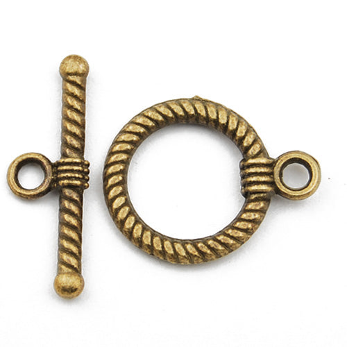 Casting Toggle Clasp,Anqitue Bronze plated,18MM*16MM,Sold 100 sets per pkg