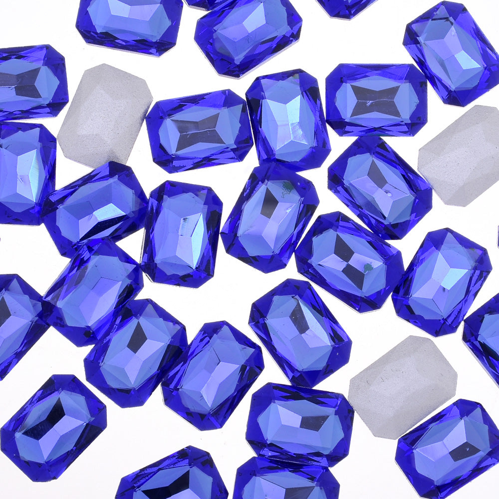 10x14mm Rectangle Pointed Back Rhinestones glass crystals beads wedding diy jewelry blue 50pcs 10183352