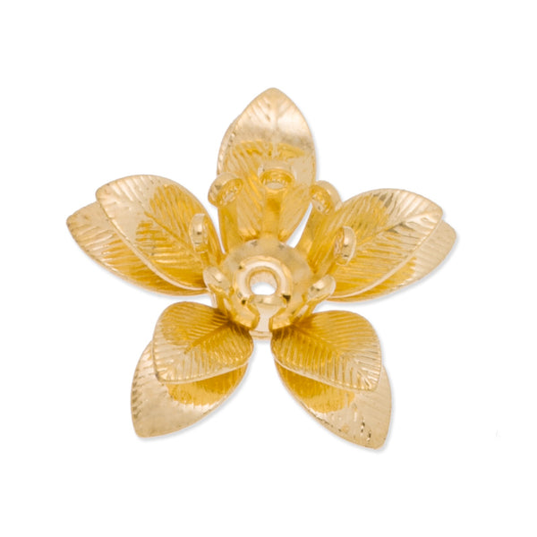 15mm golden 3D Brass flower component,Center Hole,easy use,20pcs/lot