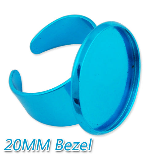 2013-2014 new style 20MM Acid Blue Adjustable Ring Blanks Base With bezel,Electrophoresis,fit 20mm glass cabochon,Sold 20PCS Per Package