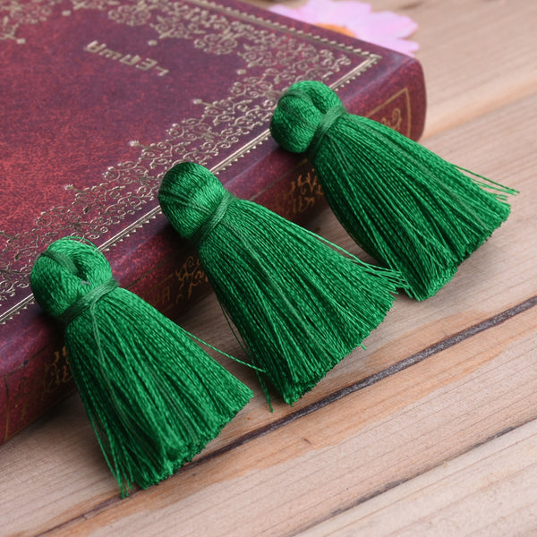 3cm Silky Tassels,Green Fashion Mala Necklace Tassels, Handmade Jewelry Tassels, 20pcs/lot