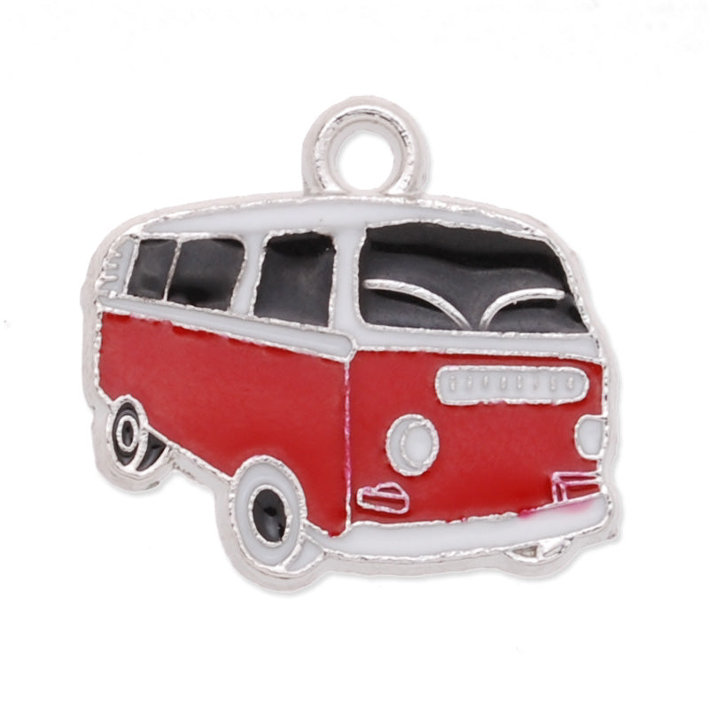 Bus Enamel Charms,red,height 20mm,width 18mm,thick 1.8mm,Sold 20 PCS Per Package