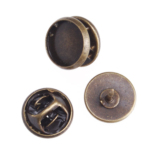 10mm Antique Bronze Plated Copper Cameo Brooch back,Tie Tac Clutch with 10mm Round Bezel Cup,sold 50pcs per pkg