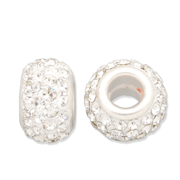 8*13MM White Pave Crystal Beads,Brass Base,Hole Size about4.0MM,Sold  5PCS Per Package
