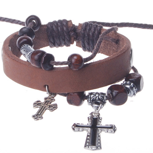 2013-2014 Summer hot sale promotional gifts double cross cahrm beaded hand-woven  leather bracelet,Light Coffee,sold 10pcs per pkg