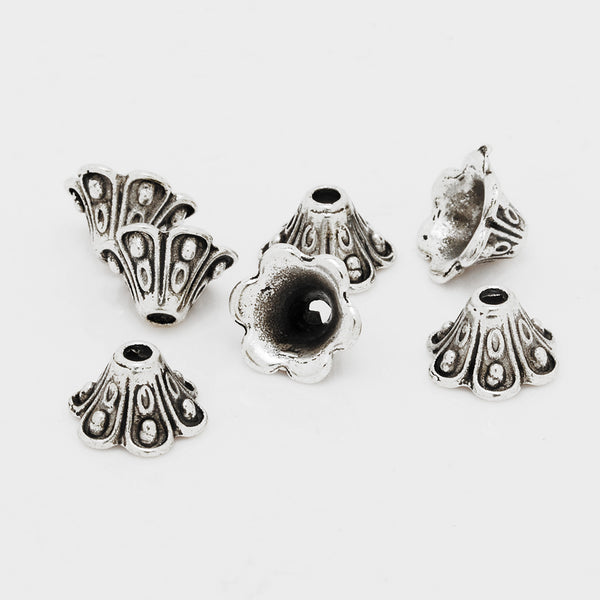 9mm Antique Silver Metal Beads,Flower Charm Bead Caps,Buddhism Jewelry Findings,sold 50pcs/lot
