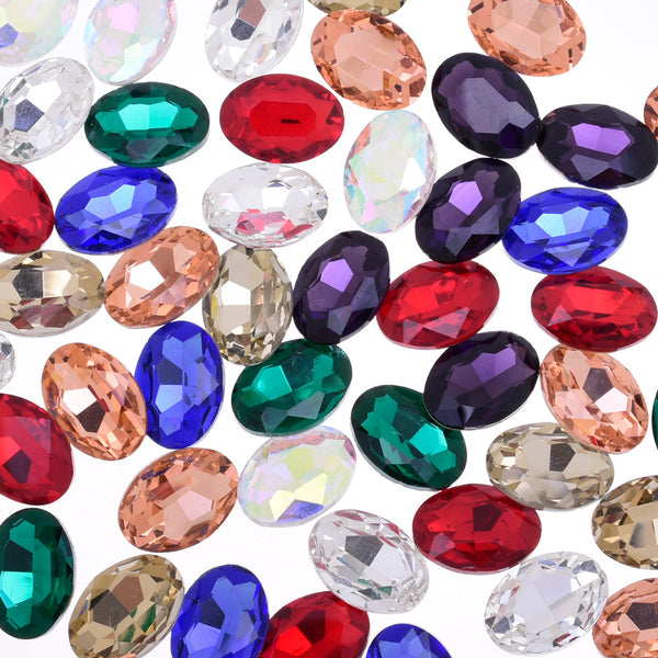 10x14mm Oval Pointed Back Rhinestones Glass Jewels point crystal Nail Art Craft Supply mixed 50pcs 10183858