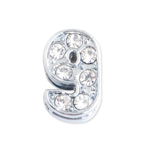 "11.5*7.5*5 MM Clear Crystal Rhinestone Number ""9"" Slider Charm Beads,Hole Sizes:8*2 MM,Silver Plated,lead Free and Nickel Free,Sold 50 PCS Per Package"