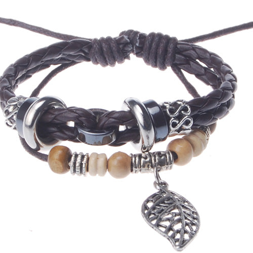 2013-2014 Summer hot sale promotional gifts tree leaf charm beaded hand-woven  leather bracelet,Deep Coffee,sold 10pcs per pkg