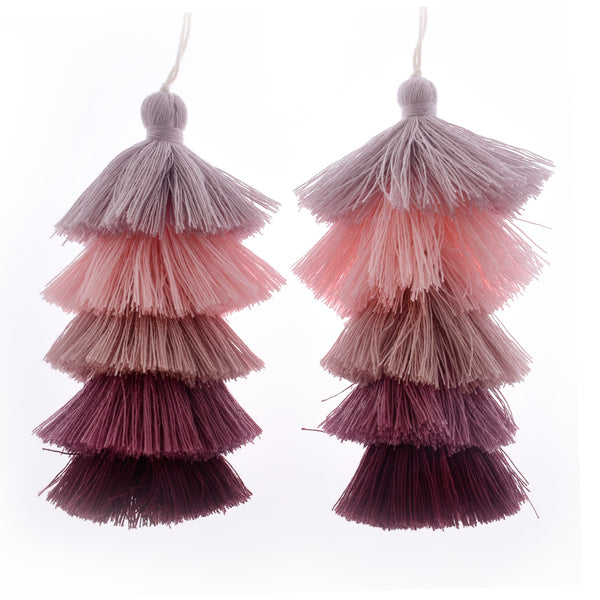 Wholesale Layered Tassel Pendant Five Tier Colorful Cotton Tassel for Earrings pendant handmade 2pcs 10192854