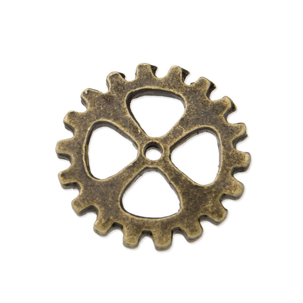 20PCS 15mm Antique Bronze Gear Beads, Metal Steampunk, Gear Charms Connector, Cog Charms