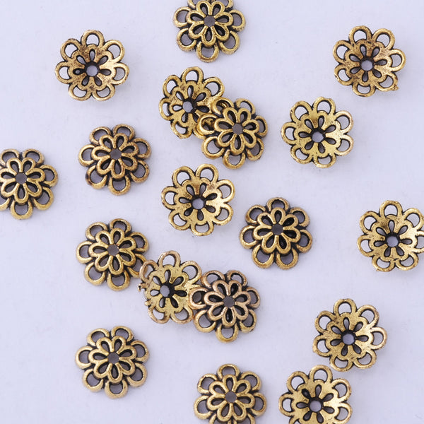 10mm Antique gold Filigree Flower Bead Caps Spacer Jewelry Findings Charms European Beads 50pcs