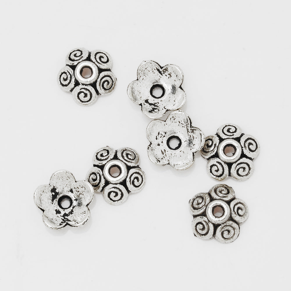 10mm Flower Spacer Metal Beads,Antique Silver Charm Bead Caps,Jewelry Findings,Metal,sold 50pcs/lot