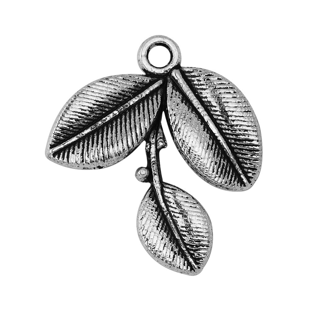 50 Antique Silver Tree Branch Charm Leaf Charm Vine with Leaves Tree Jewelry Metal Jewelry Charms 23x27mm