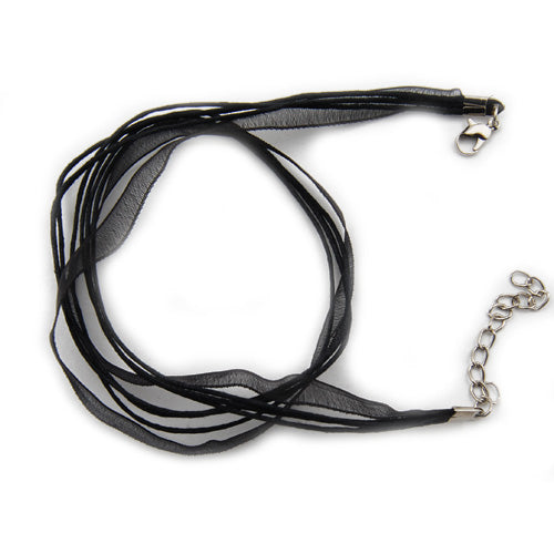 50 PCS 45 CM Long,Black Cotton Wax Cord and Organza Ribbon With Iron Lobster Clasps