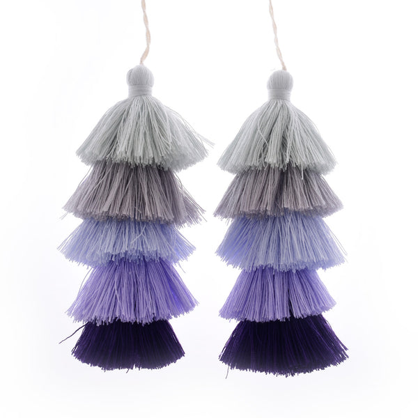 Wholesale Layered Tassel Pendant Five Tier Colorful Cotton Tassel for Earrings pendant handmade 2pcs 10192852