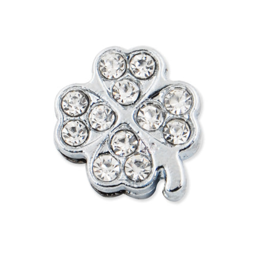 14.6*16.8MM Clear Crystal Rhinestone Clover Slider Charm Beads,Hole Sizes:8*2 MM,Rhodium Plated,lead Free and Nickel Free
