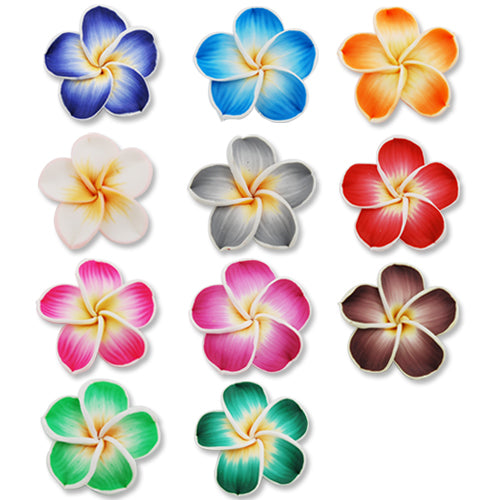 40MM HandMade And Flat Back Polymer Clay Flower Beads,Mixed Colors,Side Drilled Hole Size 2.5MM,Lead Free,Sold 50 PCS Per Package