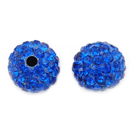12MM Clear Pave Sapphire Beads,Clay Glue Base,Hole Size 2MM,Sold 10PCS Per Lot,Fit DIY Bracelets Earrings Necklaces Rings