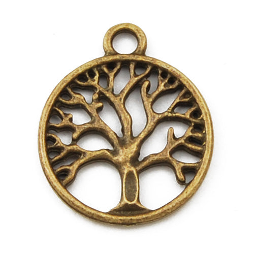 20mm Vintage antique bronze Zinc alloy Charms,tree,sold 100 pcs per pkg
