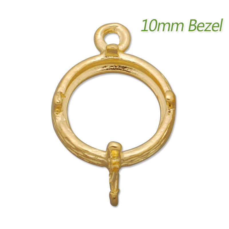 10MM Round Brass Gemstone Bezel,Gold,charms links,sold 20pcs per lot