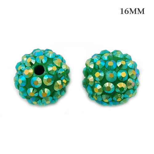 14*16 MM Round Resin Pave Beads,Green Base,Clear AB,Sold 50PCS Per Package