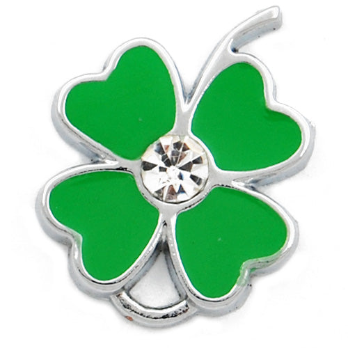 Clover Enamel Charms with clear glass diamond,green,height 23mm,width 18mm,thick 2.6mm,Sold 20 PCS Per Package