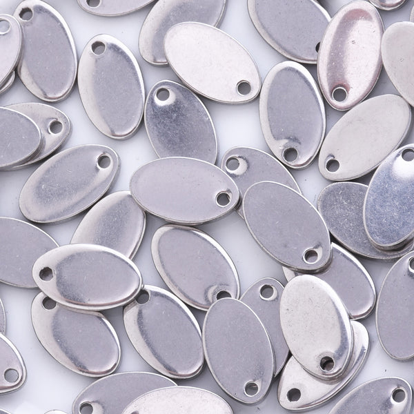 20 Stainless Steel Metal Stamping Blank Charms, Small Oval Discs Silver Charms about 13mm
