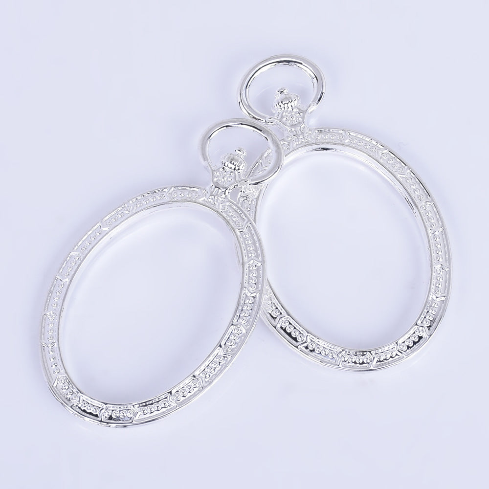 53*31*3mm Oval Open Back Pendant Resin Bezels Pendant Frame Setting Jewelry Making silver 10pcs