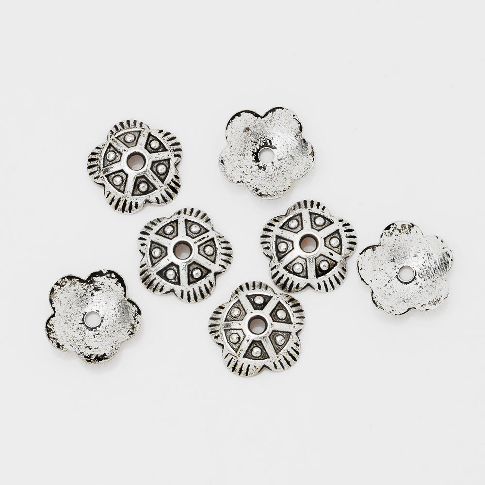 11mm  Vintage Bead Caps,Diy Jewelry Findings,Antique Silver Cameo Flower Charm,End Caps,sold 50pcs/lot