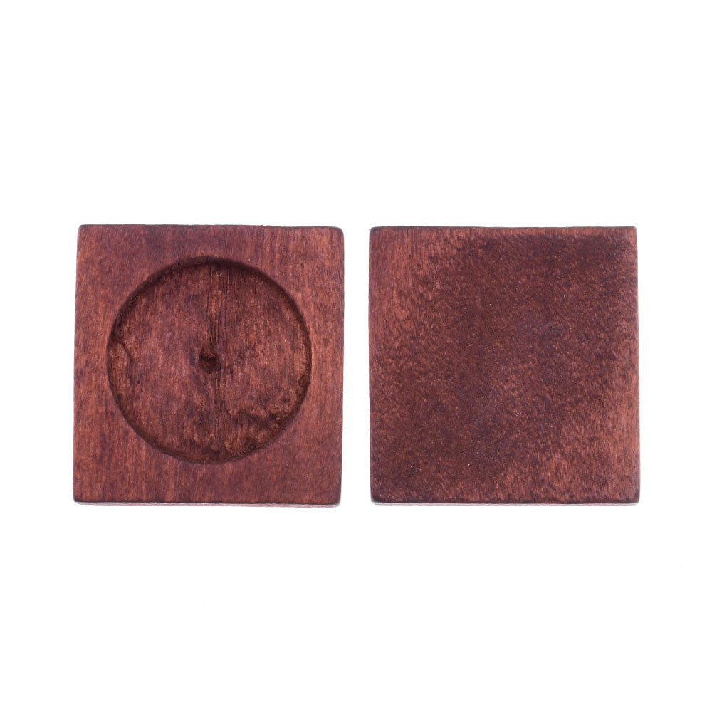 34*34mm wood Square  Pendant tray,bracelet blanks, fit 25mm round cabochons Bezels Trays,Retro color, sold 20pcs