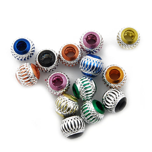 12MM Diameter Round Aluminum Bead,Mixed Colors,Carved,Hole Size:About 5.5MM,Sold Per 100 PCS Per Package
