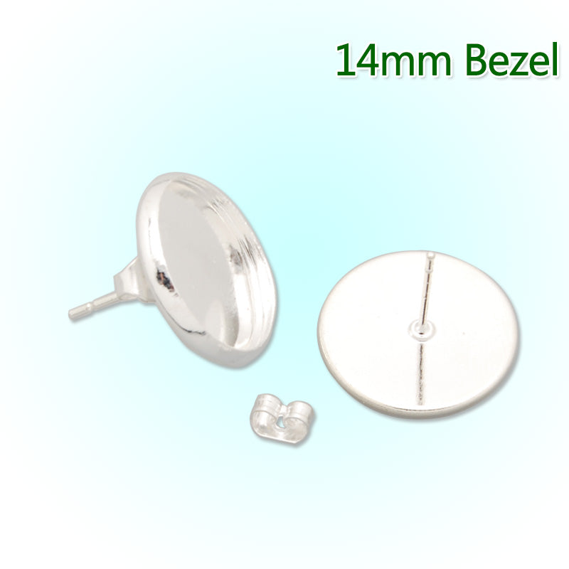 14MM Silver plated  stud earring,fit 14mm glass cabochon;sold 50pcs per package