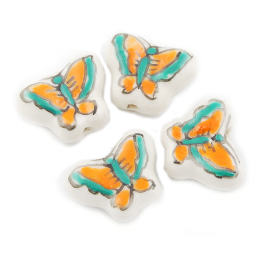 14*17MM Handmade Porcelain Beads,Butterfly,Green and Yellow,Hole size:2.7 MM,Sold 100PCS Per Package