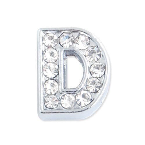 "12*9.5*5 MM Clear Crystal Rhinestone Letter ""D"" Slider Charm Beads,Hole Sizes:8*2 MM,Silver Plated,lead Free and Nickel Free,Sold 50 PCS Per Package"